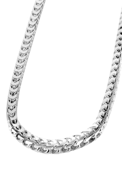 Womens 14K White Gold Chain - Solid Franco Chain
