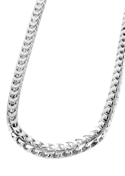 White Gold Chain - Mens Solid Franco Chain 10K White Gold