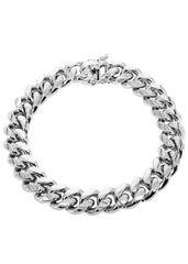 Solid Mens Miami Cuban Link Bracelet 10K White Gold