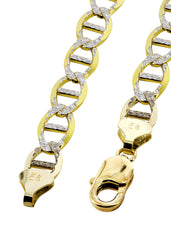 Solid Mens Pave Mariner Bracelet 10K Yellow Gold