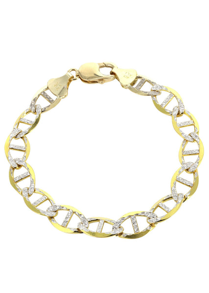 Solid Mens Diamond Cut Mariner Bracelet 10K Yellow Gold