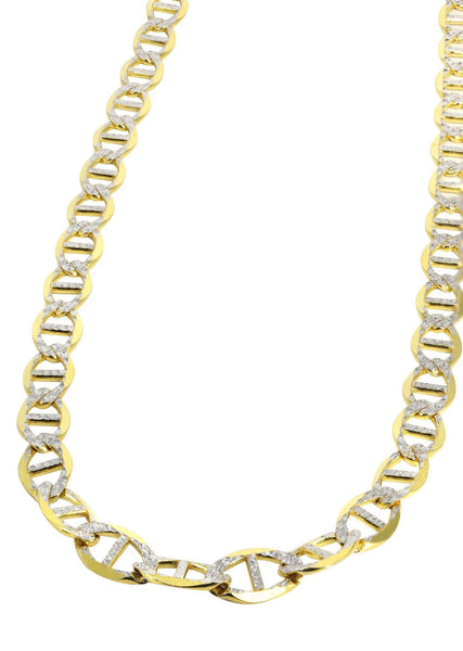 Womens 14K Gold Chain - Solid Diamond Cut Mariner Chain