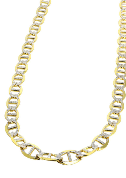 14K Gold Chain - Solid Diamond Cut Mariner Chain