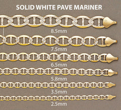 14K Gold Chain Solid Diamond Cut Mariner
