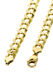 Solid Mens Cuban Link Chain 10K Yellow Gold