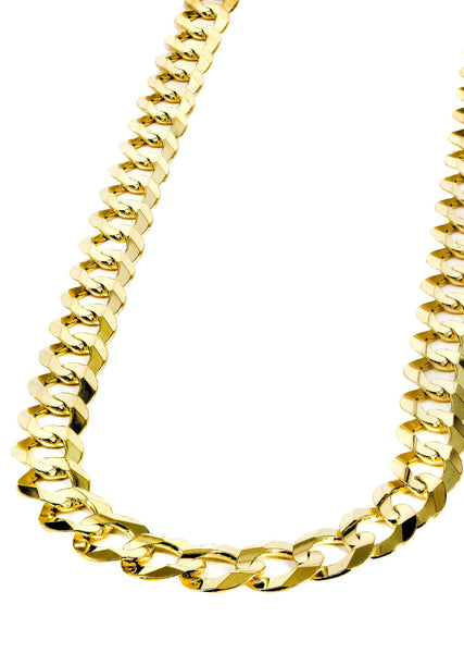 Gold Chain - Mens Solid Cuban Link Chain 10K Gold