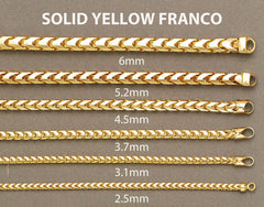 14K Gold Chain - Mens Solid Franco Chain MEN'S CHAINS FROST NYC