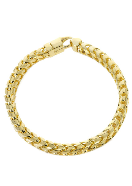 Solid Mens Franco Bracelet 10K Yellow Gold