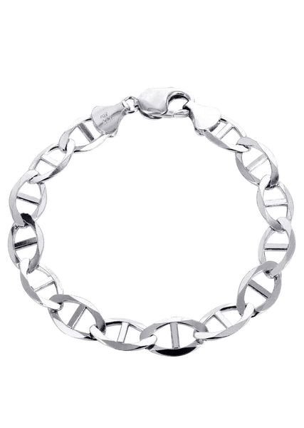 Solid Mens Mariner Bracelet 10K White Gold