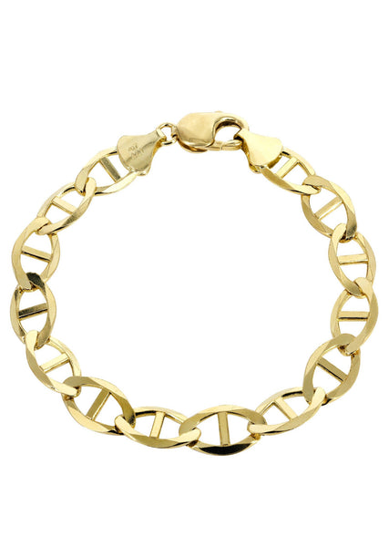 Solid Mens Mariner Bracelet 10K Yellow Gold