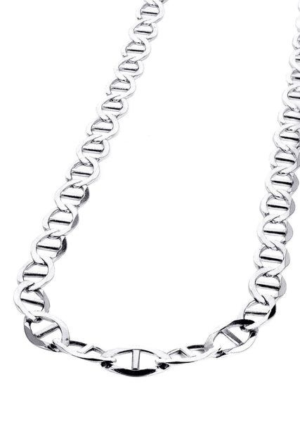 White Gold Chain - Womens Solid Mariner Chain 10K Gold