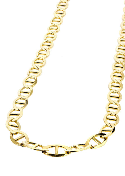 Gold Chain - Womens Solid Mariner Chain 10K Gold