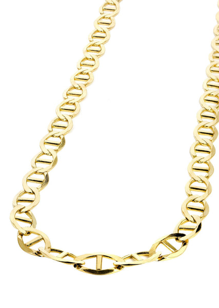 Gold Chain - Mens Solid Mariner Chain 10K Gold