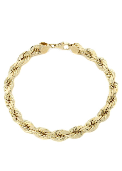 Solid Womens Rope Bracelet 10K Yellow Gold