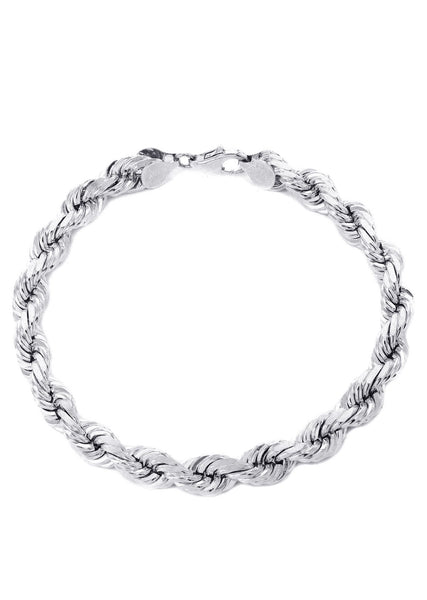 Solid Mens Rope Bracelet 10K White Gold