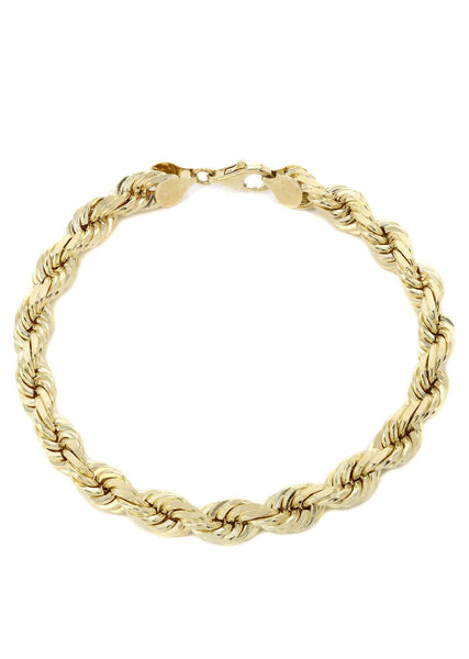 Solid Mens Rope Bracelet 10K Yellow Gold