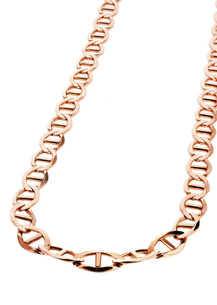 Womens 14K Rose Gold Chain - Solid Mariner Chain