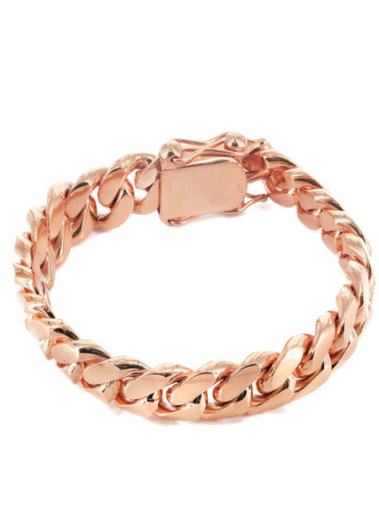 14K Rose Gold Bracelet Solid Miami Cuban Link