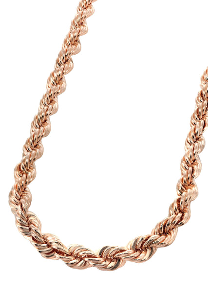 14K Rose Gold Chain - Solid Rope Chain