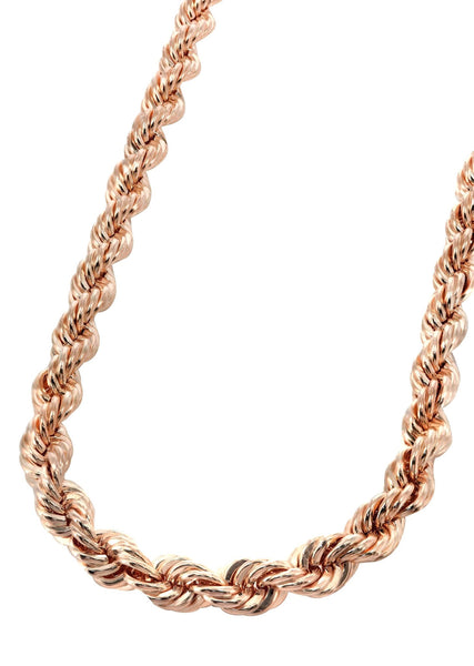Womens 14K Rose Gold Chain - Solid Rope Chain