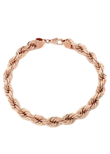 14K Rose Gold Bracelet Solid Rope