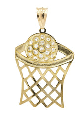 Big Basketball & Cz 10K Yellow Gold Pendant. | 11.9 Grams