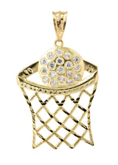 Big Basketball & Cz 10K Yellow Gold Pendant. | 11.9 Grams MEN'S PENDANTS FROST NYC