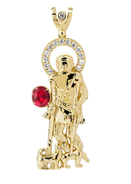 Big St. Lazaro & Cz 10K Yellow Gold Pendant.  |  24.2 Grams