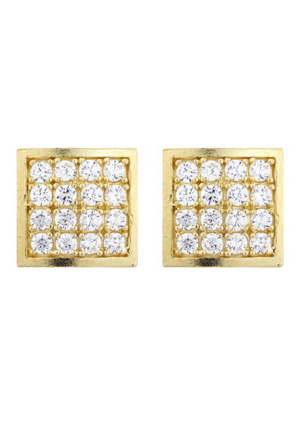 Square Cz 10K Yellow Gold Earrings | Appx 3/8 Inches Wide