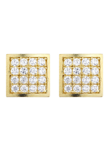 CZ 10K Yellow Gold Studs | Appx. Diameter 0.4 Inches