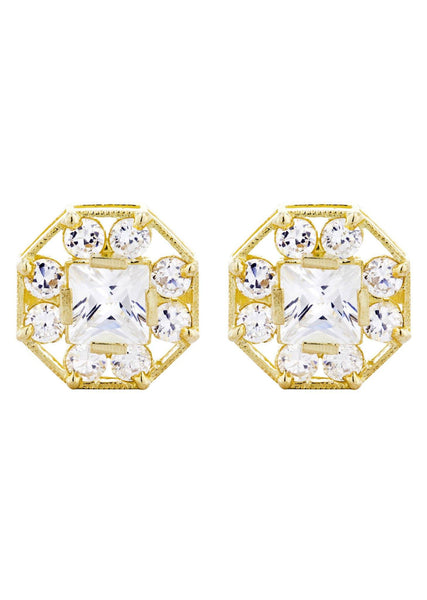 Octagon Cz 10K Yellow Gold Earrings | Appx 1/2 Inches Wide