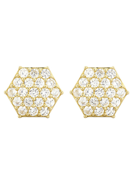 Cz 10K Yellow Gold Studs | Appx. Diameter 0.5 Inches