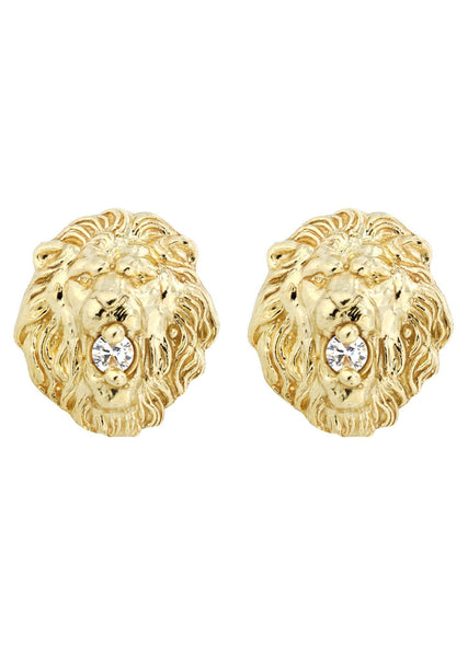 Lion Head 10K Yellow Gold Earrings | Appx 1/2 Inches Wide