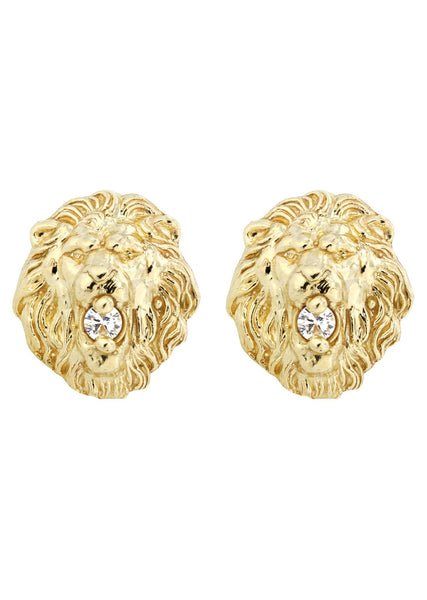 Lion 10K Yellow Gold Studs | Appx. Diameter 0.5 Inches