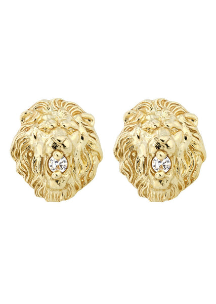 Lion Head 10K Yellow Gold Earrings | Appx 3/8 Inches Wide