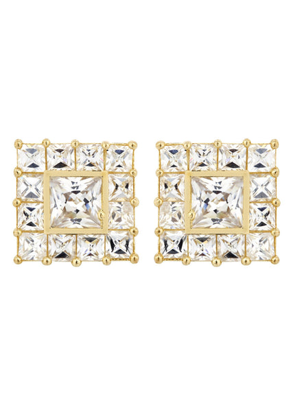 Cz 10K Yellow Gold Studs | Appx. Diamter 0.5 Inches