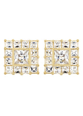 Cz 10K Yellow Gold Studs | Appx. Diamter 0.5 Inches Gold Stud Earrings FROST NYC