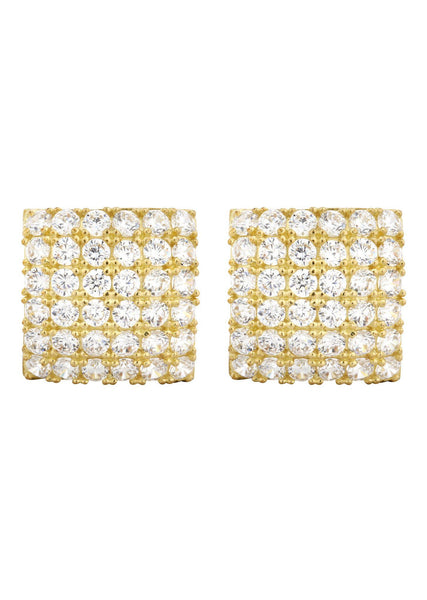 Square Cz 10K Yellow Gold Earrings | Appx 1/2 Inches Wide