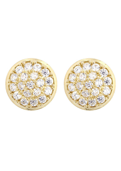 Circle Cz 10K Yellow Gold Earrings | Appx 1/2 Inches Wide