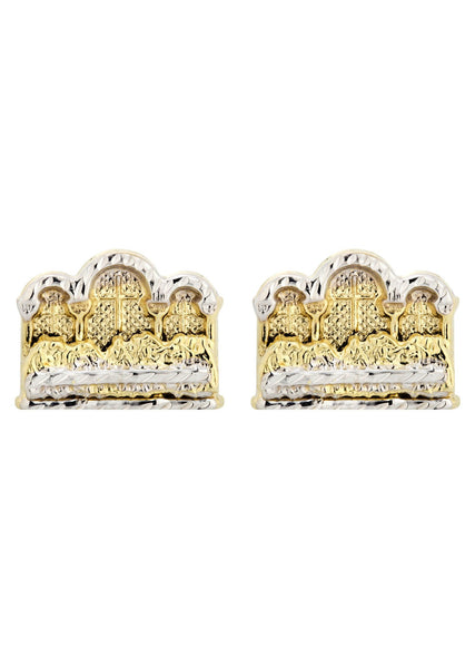 Last Supper 10K Yellow Gold Studs | Appx. Diameter 0.5 Inches
