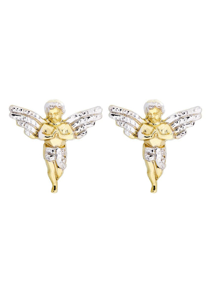 Angel 10K Yellow Gold Earrings | Appx 7/8 Inches Wide