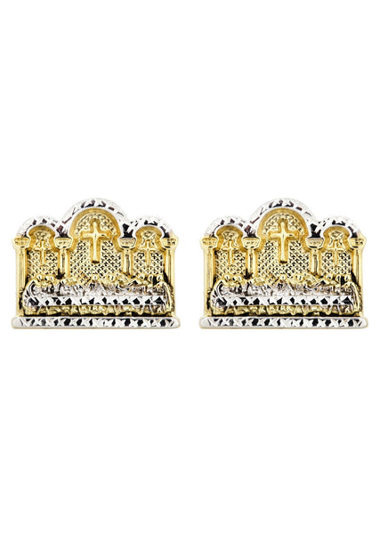 Last Supper 10K Yellow Gold Studs | Appx. Diameter 0.75 Inches