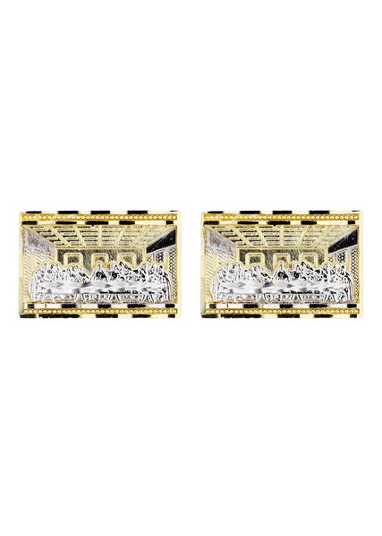 Last Supper 10K Yellow Gold Earrings | Appx 7/8 Inches Wide
