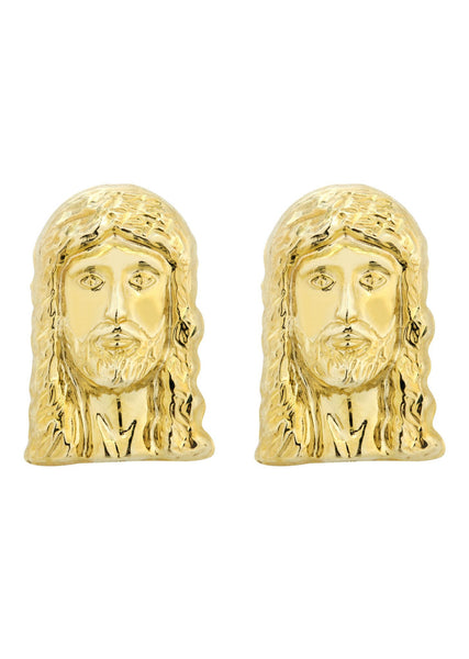 Jesus 10K Yellow Gold Studs | Appx. Diameter 0.5 Inches