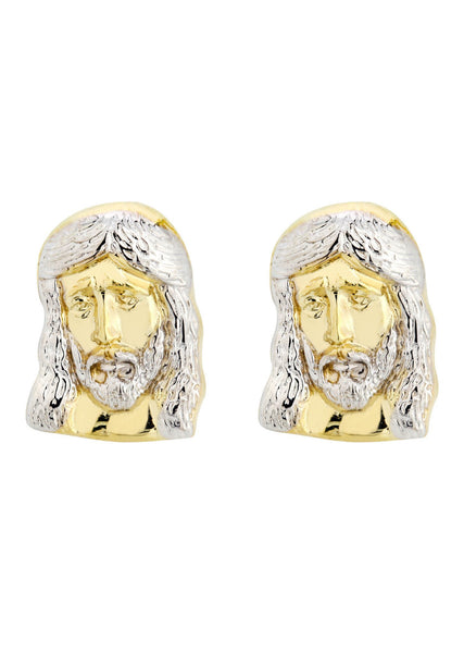 Jesus 10K Yellow Gold Studs | Appx. Diameter 0.2 Inches