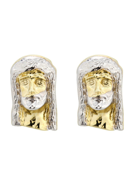 Jesus Head 10K Yellow Gold Earrings | Appx 3/8 Inches Wide