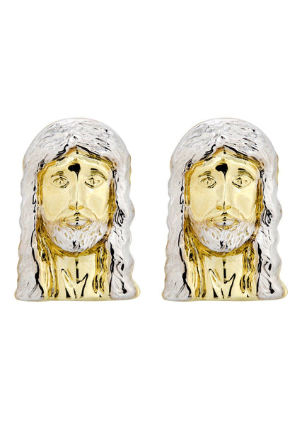 Jesus Head 10K Yellow Gold Earrings | Appx 1/2 Inches Wide