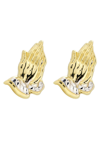 Praying Hands 10K Yellow Gold Earrings | Appx 5/8 Inches Wide