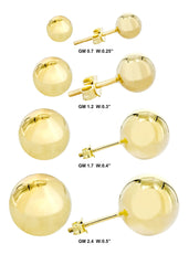 Ball 10K Yellow Gold Studs | Customizable Gold Stud Earrings FrostNYC