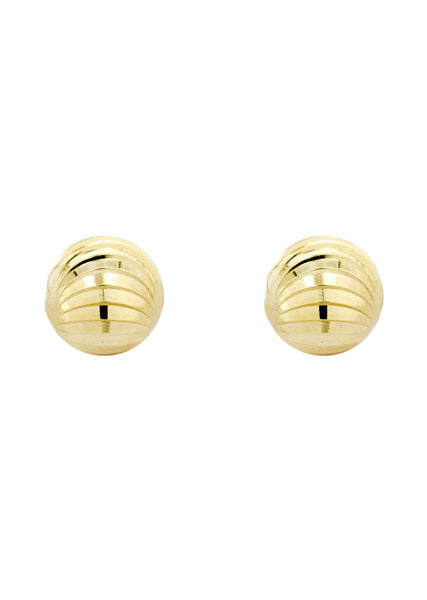 Dimond Cut Ball 10K Yellow Gold Studs | Appx. Diameter 0.25 Inches